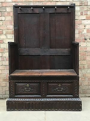 Antique Box Settle Carved Oak Bench Pew Coffer 17th century
