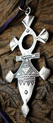 Niger Tuareg  Cross hand engraved tarnished silver pendant necklace + purple tie
