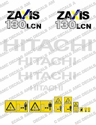 Hitachi Zaxis 130 Digger Complete Decal Set With Safety Warning Signs