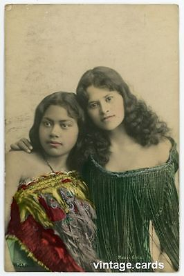 New Zealand: Maori Girls, Vintage Postcard Used 1906, Social History