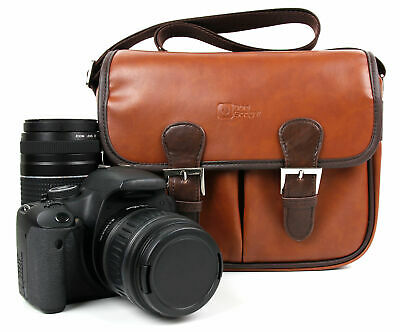 Brown PU Leather Satchel Carry Bag For Canon EOS Cameras: 1300D / Rebel R6