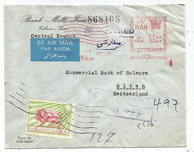 Persia Lettre Cover Air Mail Tehran 1964 Lion  To Suisse