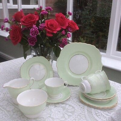 Vintage Colclough Harlequin 15pc Tea Set Pale Green and White with Gilding