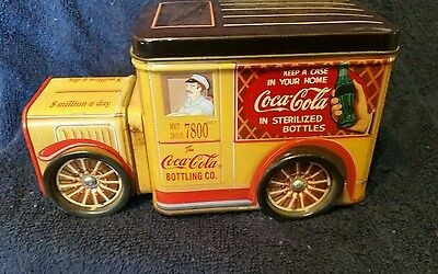 Coca cola  Tin: Vintage delivery  truck Shape With 2 Compartments 'Wheels Spin'
