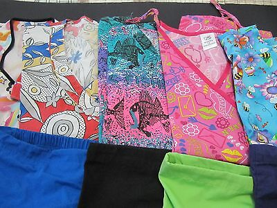 Womans Lot Of Scrub Sets, 5 Tops, 5 Pants, Very Nice Conition  Size Xl (Box 362)