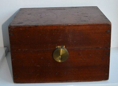 Antique wooden and brass box - previously housed scientific instrument?