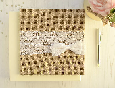 Personalised Wedding Guest Book. Rustic Jute and Lace Guest Book and Box.