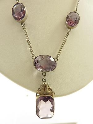 Vintage Chinese Sterling Dragon Motif Amethyst Stone Pendant Lavalier Necklace