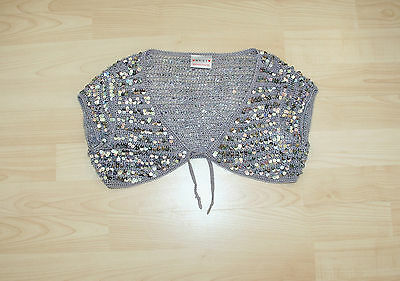 NEXT Girls Grey Sequined Over Top / Cropped Gilet / Shrug Sz 7-8 yrs