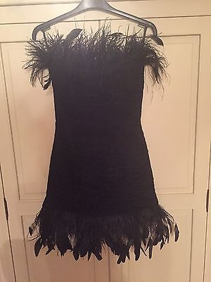 Sherri Hill Black Feathered Prom Occasion Formal Dress - Size 6/8/10 Perfect Con