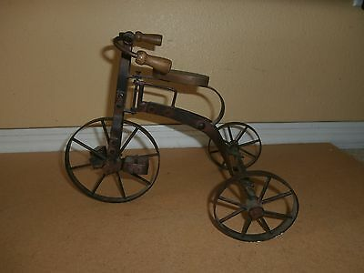 Vintage ANTIQUE Steel Functioning Miniature Toy Tricycle