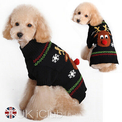 Christmas Pet Dog Warm Jumper Sweater Xmas Puppy Cat Knitwear Costume Coat Cloth