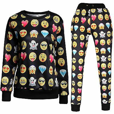 Girls Emoji Outfit Set Long Sleeved Top & Trousers Sz 13-16 / Ladies Sz 10-12