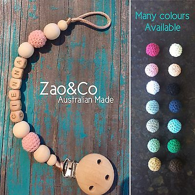 Dummy Pacifier Baby Chain Teether Clip Wood Gift Name custom dummies holder