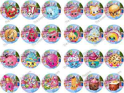 Shopkins Edible Icing or Rice/Wafer Paper Birthday Cake Cupcake Toppers