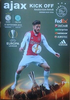 2015 AJAX v CELTIC EUROPA LEAGUE PROGRAMME