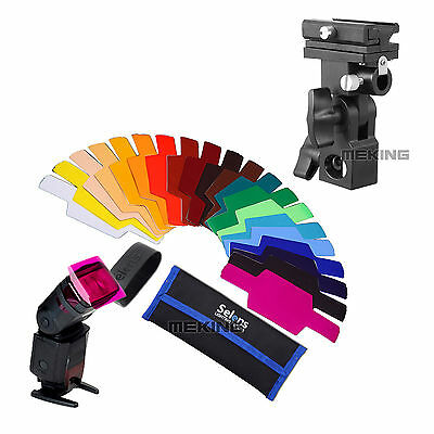 20pcs SE-CG20 FLash Color Gels Filter + Bracket B Shoe Umbrella Holder for Canon