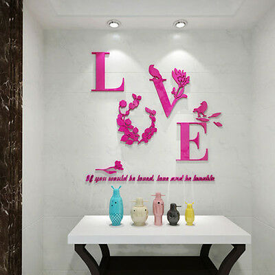 Flower 3D Mirror Quote Decal Mural Removable Home Room Decor Art Wall Sticker