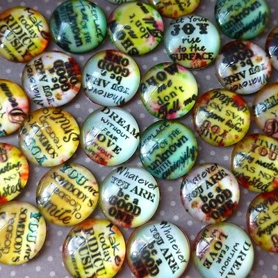 Pack of 10 Mix Pattern Cabochons with Message, 16 mm