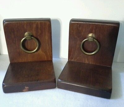 Vintage Wood Book Ends With Brass Door Knockers