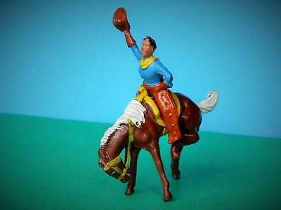 CRESCENT VINTAGE 1950s WILD WEST 2 PC LEAD RODEO COWBOY ON BUCKING BRONCO HORSE
