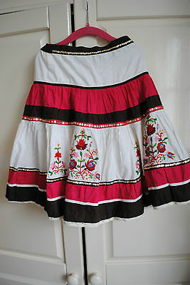 Monsoon Tiered Gypsy Style Layer Skirt 4-6 years Brown Red White Applique