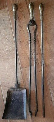 Antique Vintage Brass Victorian Fireplace Hearth Tool Tools 3 pc Set Circa 1870s