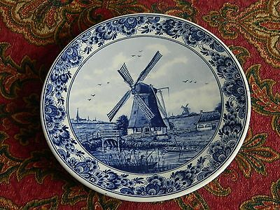 Beautiful Blue & White Delft Holland Plate Made for KLM Royal Dutch Airlines #3