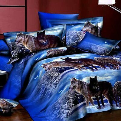 4Pcs 3D Wolves Oil Brushed Printed Duvet Cover Bedding Set Queen Size Pillowcase