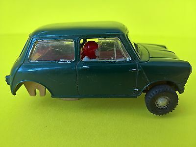Vintage Scalextric Austin Mini Cooper C76 - Green - For Spares or Repairs