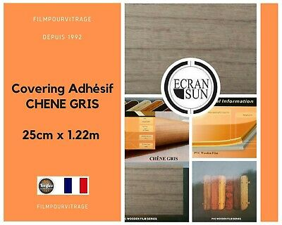 covering adhesif BOIS CHENE GRIS - thermoformable - ( 25 cm x 1.22 m)