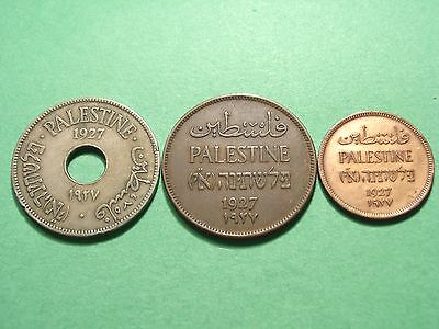 Palestine lot of 3 Coins 1927