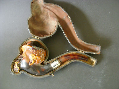 A Large Meerschaum Pipe Complete In Its Leather Case Depicting A Bearded Man