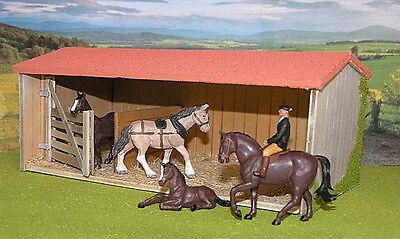 Vintage Britains Herald Farm Horse Set Rider Foal & 1:32 Barn Stable For Diorama