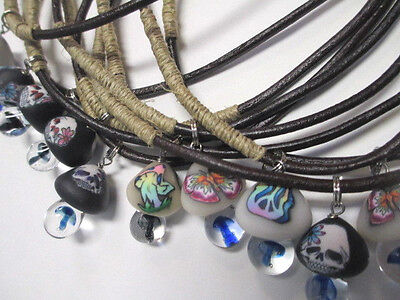 Necklaces lot of 10 Glass Fimo MUSHROOM Pendants  WHOLESALE  NWT Hippie Headshop