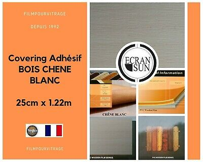 covering adhesif BOIS CHENE BLANC - thermoformable - ( 25 cm x 1.22 m )