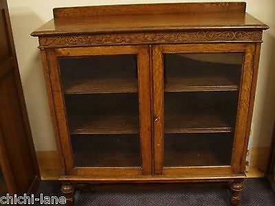 Vintage Wooden Glass Fronted Bookcase Display Cabinet On Legs. Dark Wood