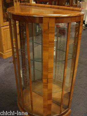 Antique Vintage Bow Fronted Dark Wood Glass Display Cabinet Cupboard Shelving