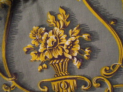 """Vintage French """"Marignan"""" Fabric Grey Gold Scrolls 2 large pieces"""