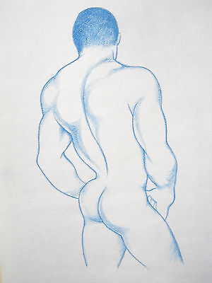"""MALE FIGURE DRAWING...""""BLUE BOY"""".....9 X 12 INCHES...PRISMACOLOR..gay interest"""