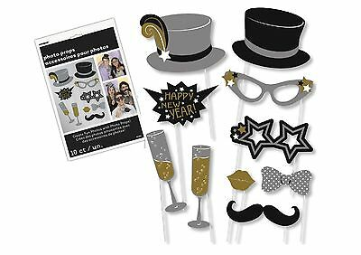 10 Happy New Year Celebration Party Selfie Gold Silver Black Photo Booth Props