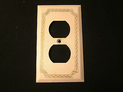 Vintage Ivory Steel Receptacle Outlet Wall Cover Plate Gilded Rope Embossed