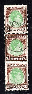 SINGAPORE SCOTT 20a $5 PERF 18 STRIP of 3 EXTRA FINE USED CHOCOLATE and EMERALD