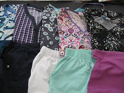 Womans Lot Of Scrub Sets, 5 Tops, 5 Pants,  Nice Conition  Size  Large (Box 367)