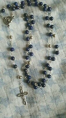 Lapis Lazuli And Sterling Silver Rosary Beads celtic cross style