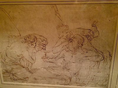 Old Master Drawing- A Drunken Noah- Italian 17th c. + Auction Provenance- Framed