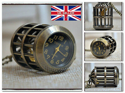 BIRD CAGE Woman Chain Necklackle POCKET WATCH Vintage Western *UK Seller*