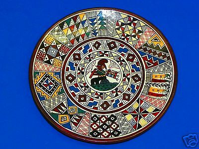 "Vintage 1950s SIGNED Chinchero Cusco Peru 7.5"" Hand Painted Wall Hanging Plate"