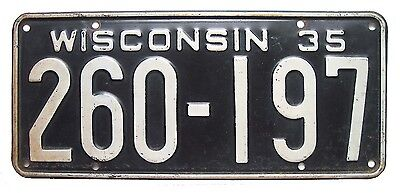 Wisconsin 1935 License Plate, Depression-Era, Wall Sign for Garage, Man Cave