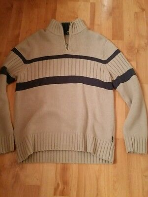 Beige and blue M & S men's chunky woollen top - size L